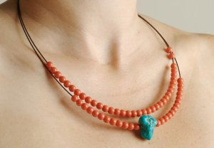 two tier coral and turquoise necklace